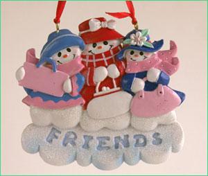 Personalized Ornament - Three Snowlady Friends